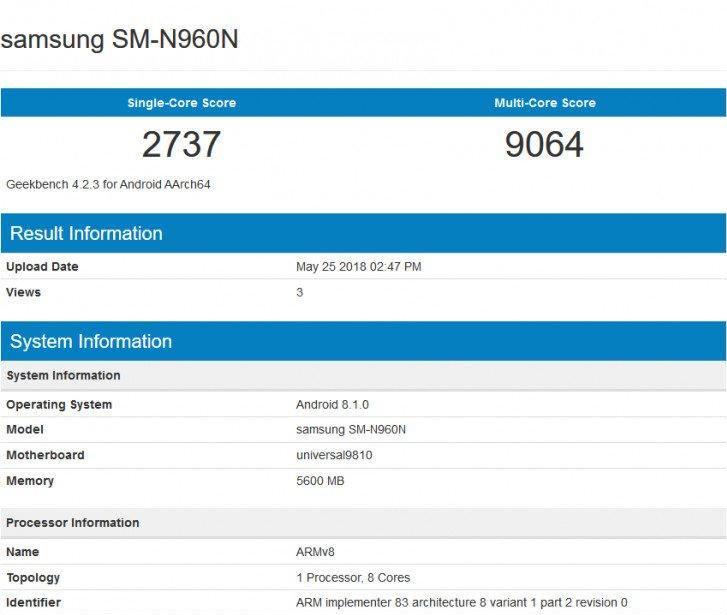 Ambas variantes, una con SoC Snapdragon 845 y otra con Exynos 9810, fueron descubiertas en la plataforma de benchmarking. La variante de Exynos obtuvo 2737 puntos en la prueba de un solo núcleo, mientras que la puntuación de la prueba de múltiples núcleos es de 9064 puntos.