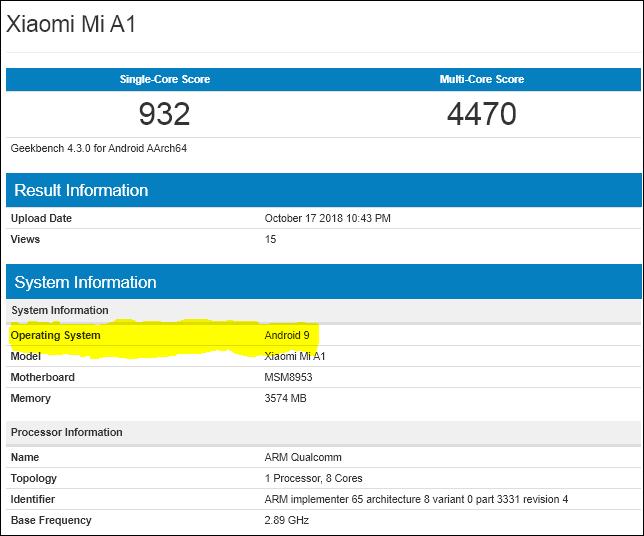 Xiaomi Mi A1 tendrá Android 9.0 pronto Según GeekBench