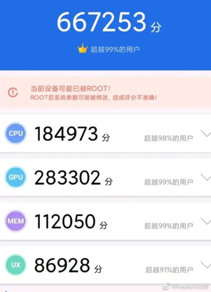 Resultado de AnTuTu, Snapdragon 865 Plus