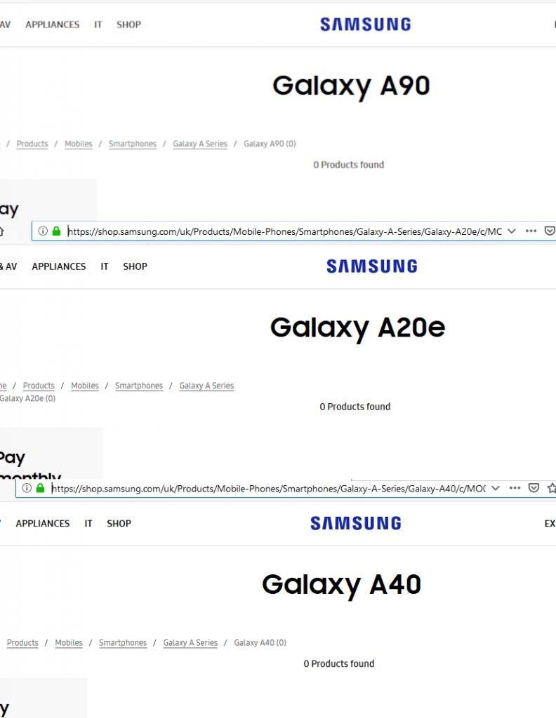 Galaxy A90 A40 y A20E